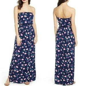 BP Floral Strapless Maxi Dress Slit Side Plus 4X